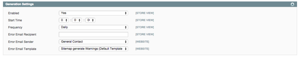Set up a sitemap in Magento