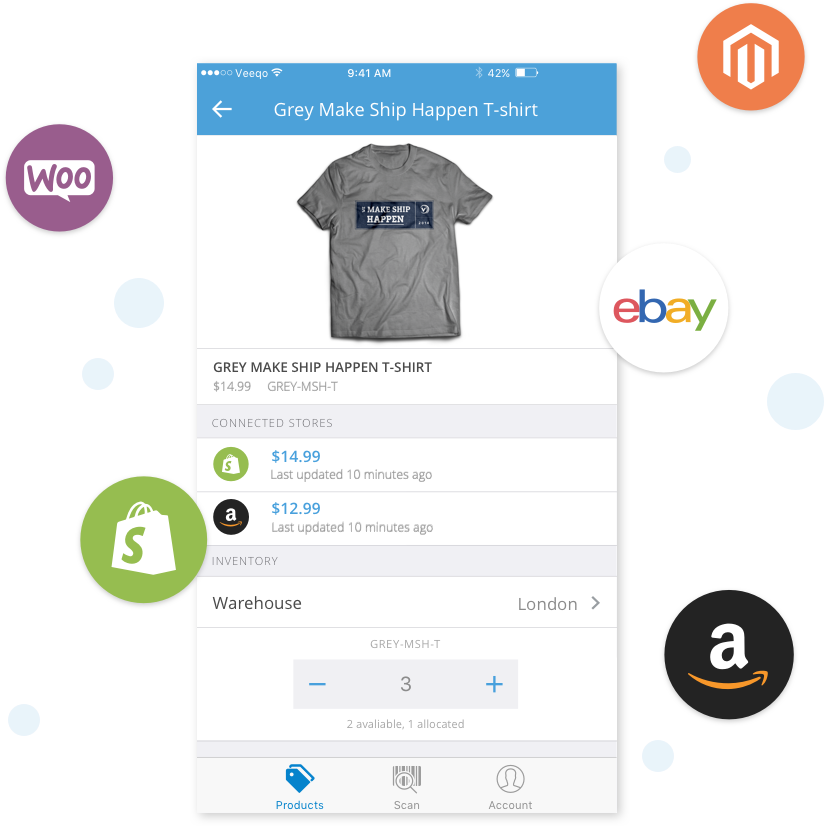 Image showing how to manage order, inventory and stock management on the Veeqo mobile app