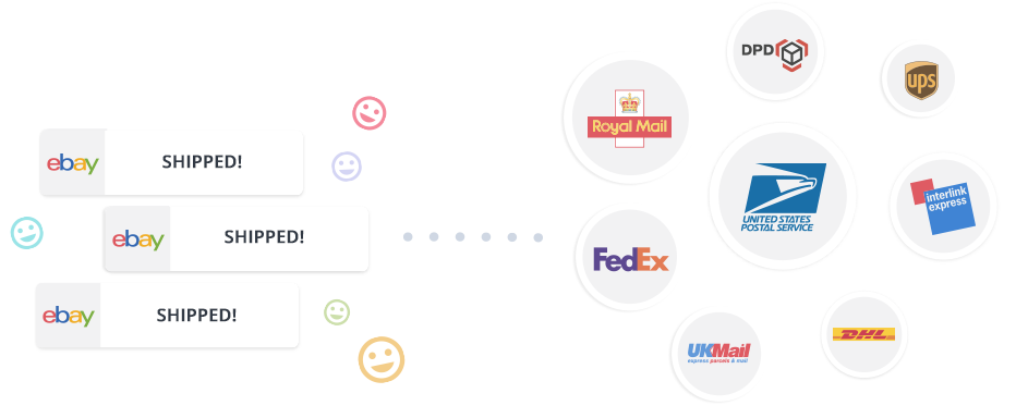 image showing eBay orders shipped via Veeqo's direct shipping integration with Royal Mail, DPD, UKMail, DL, Interlink Express, USPS, UPS and Fedex