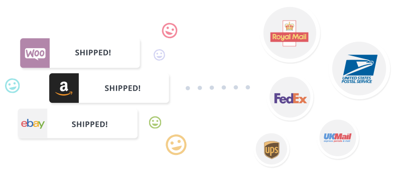 Image shows Woocommerce, Amazon and eBay orders shipped with Royal Mail, Fedex, UPS, USPS and UKMail via Veeqo's Shipping Integration