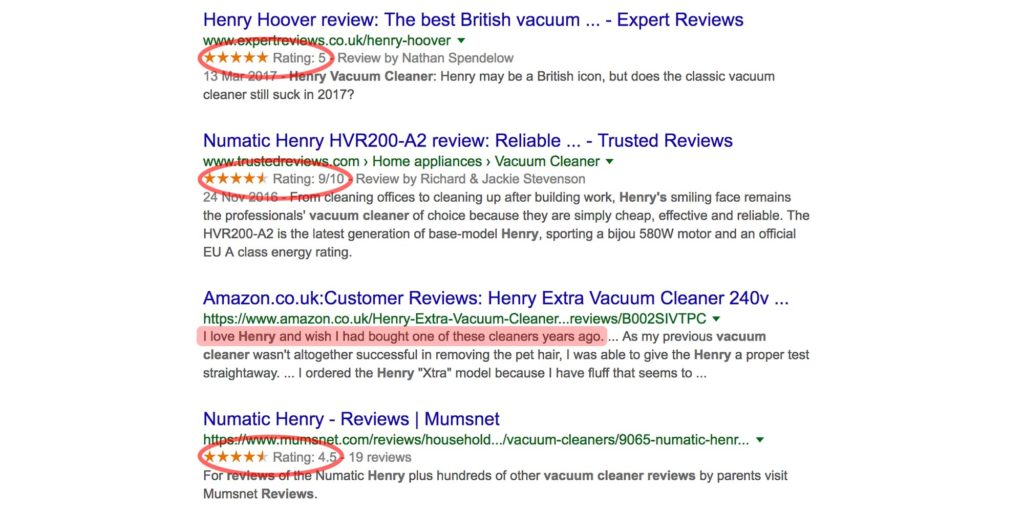 Why reviews are so important - social proof example Henry Hoover
