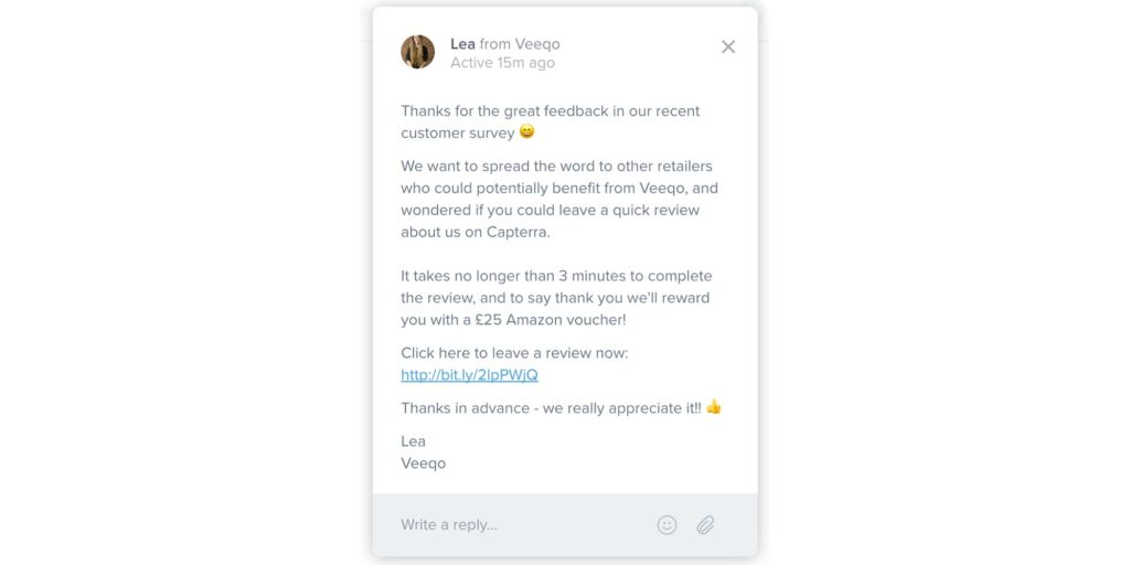 Veeqo Customer Review Incentive via Intercom