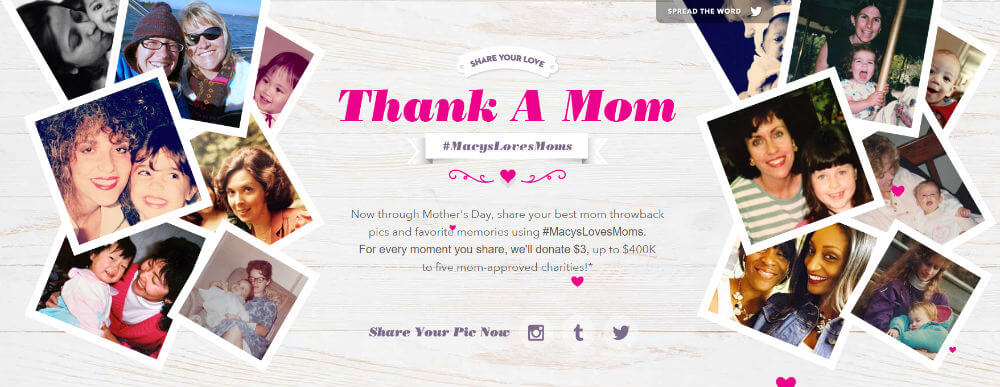 Macy's Mother's Day strategy with customers posting their #MacysLovesMoms photo memories.