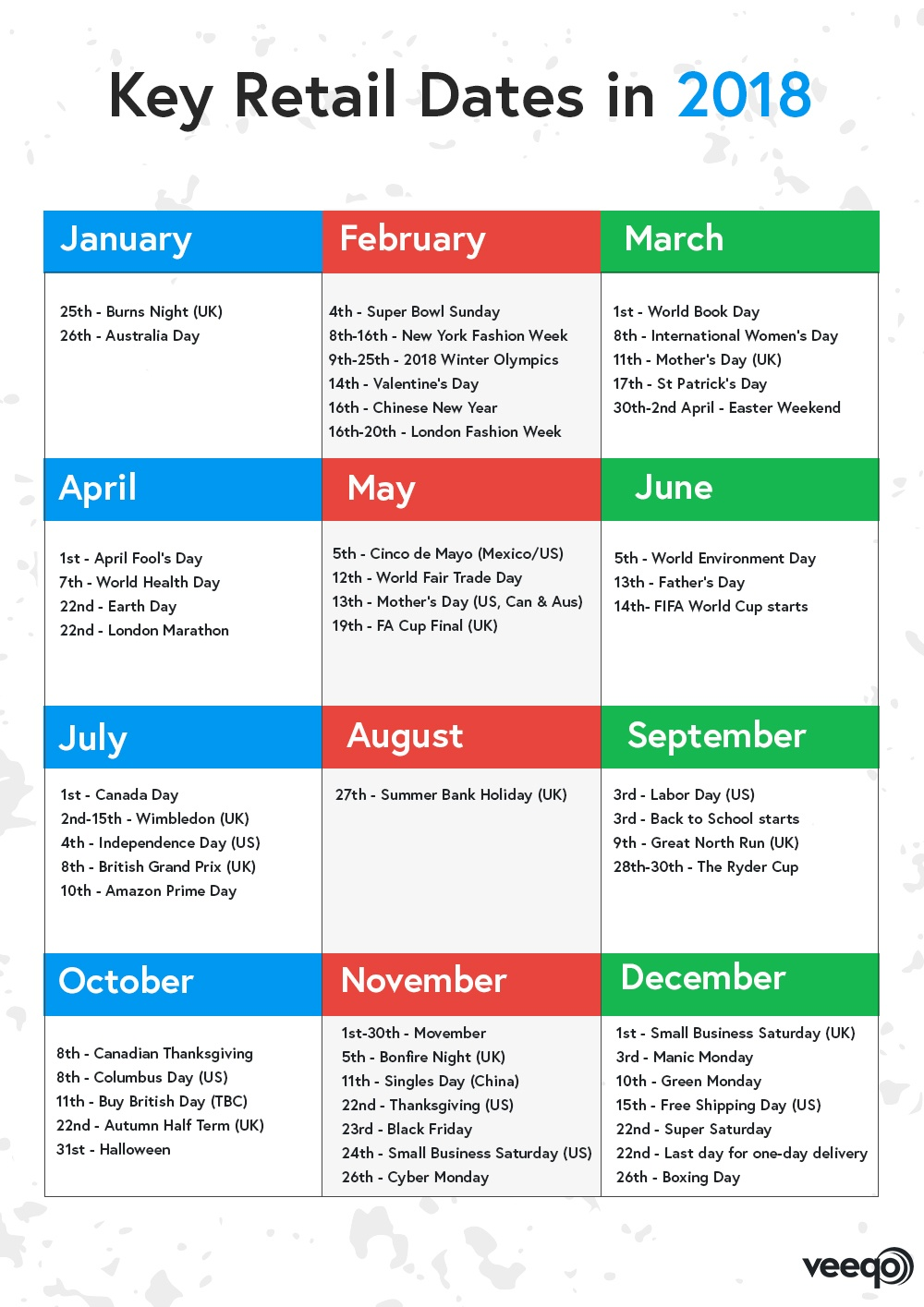 a picture showing a retail marketing calendar for 2018