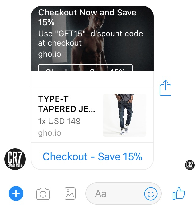 Virtual shopping assistant then reminds of unfinished purchases via Messenger