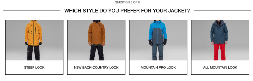 North Face question on style used to help customers get better search results