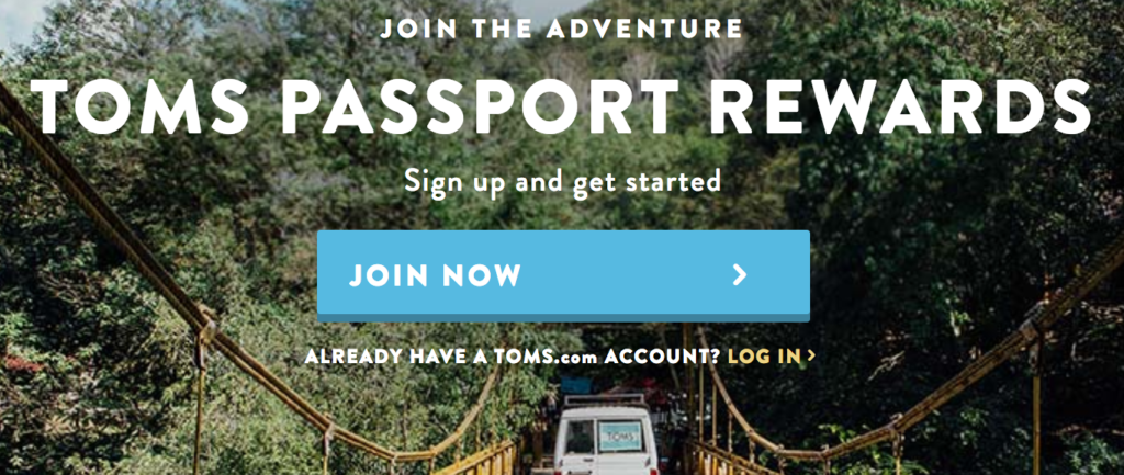 TOMS Passport Rewards Customer Loyalty Program