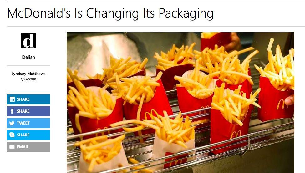 McDonald's changing packaging
