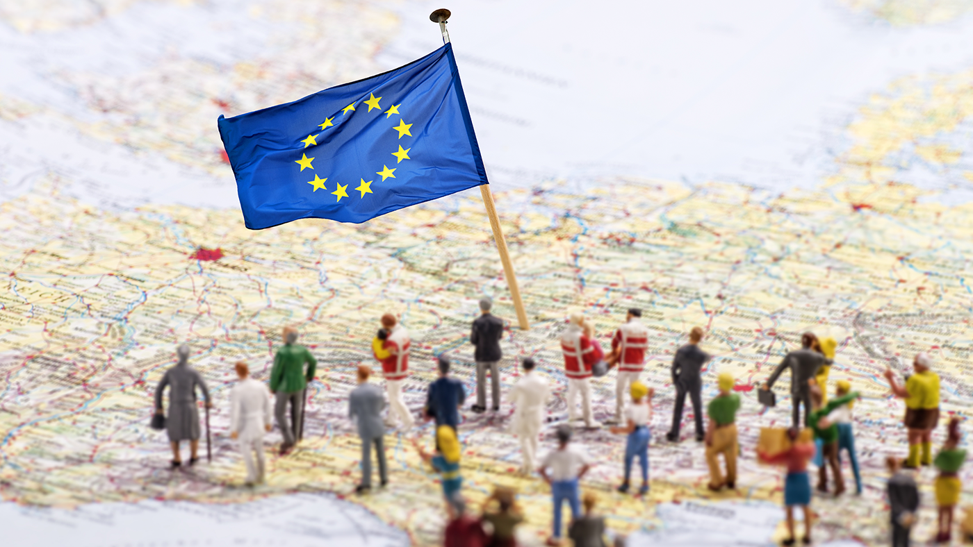 EU flag on a map of Europe symbolising opening in Europe