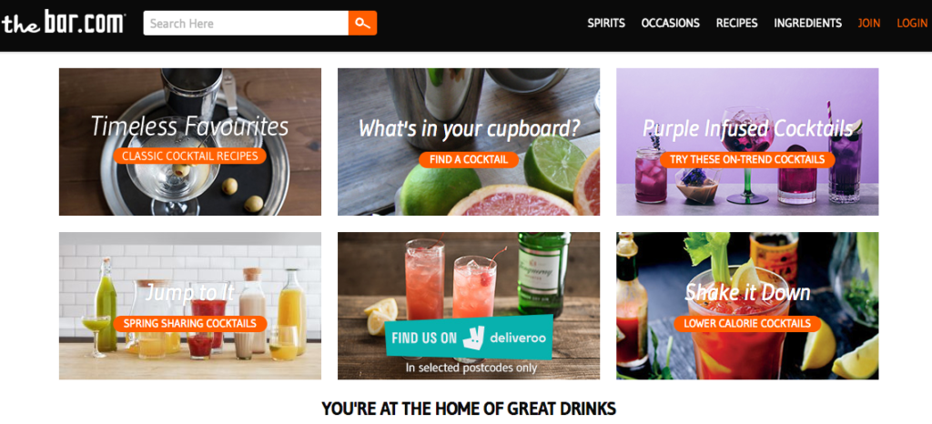 thebar.com website providing cocktail making service
