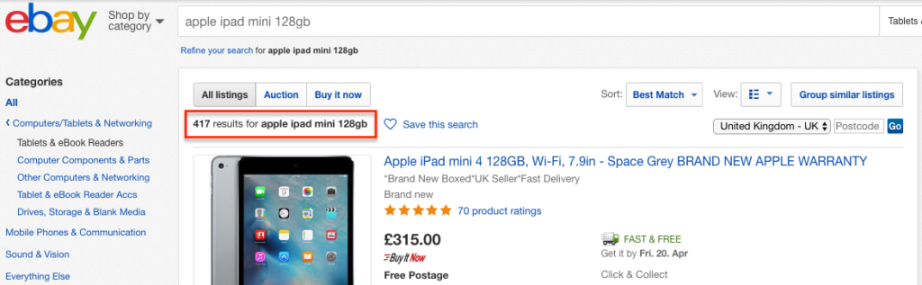 eBay Shop by Product: All listings screenshot