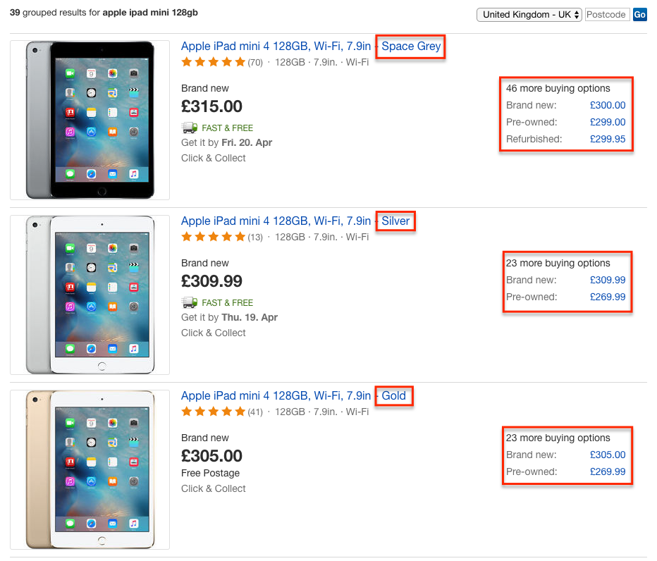 eBay Shop by Product: Buying options screenshot