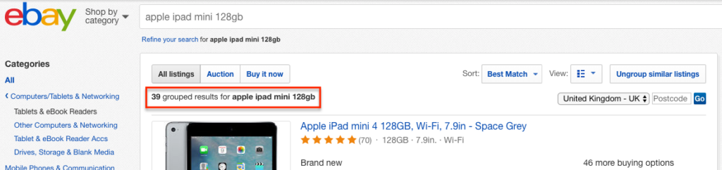 eBay Shop by Product: Grouped results screenshot