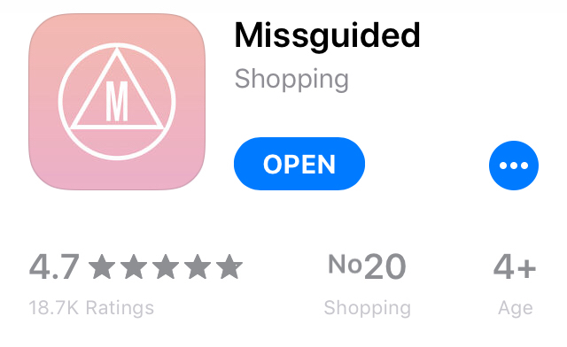 Missguided App Store rating data shows good level of customer engagement
