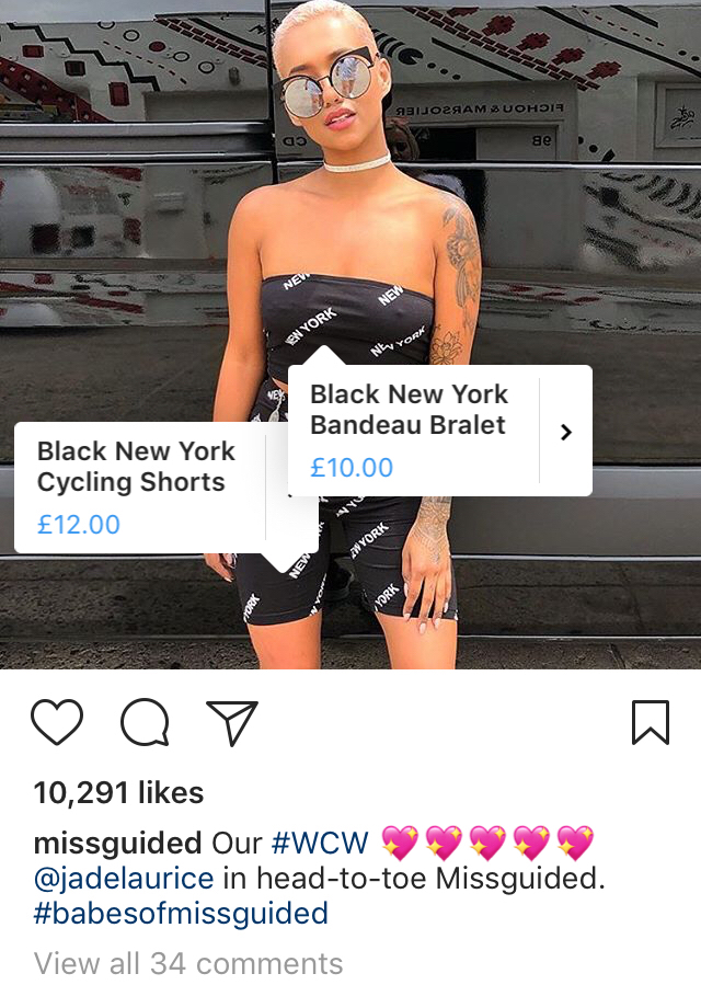 Missguided Instagram Shoppable Post technology increases customer engagement