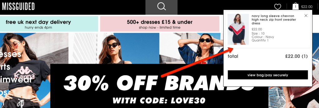 Missguided online store is different channel but stays consistent with shopping basket