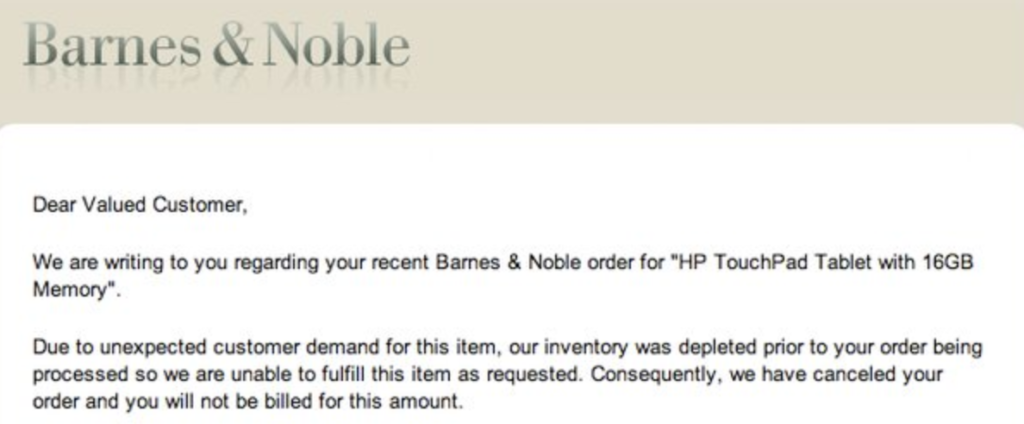 Barnes & Noble overselling email from failing to track inventory by putting an effective management tool in use