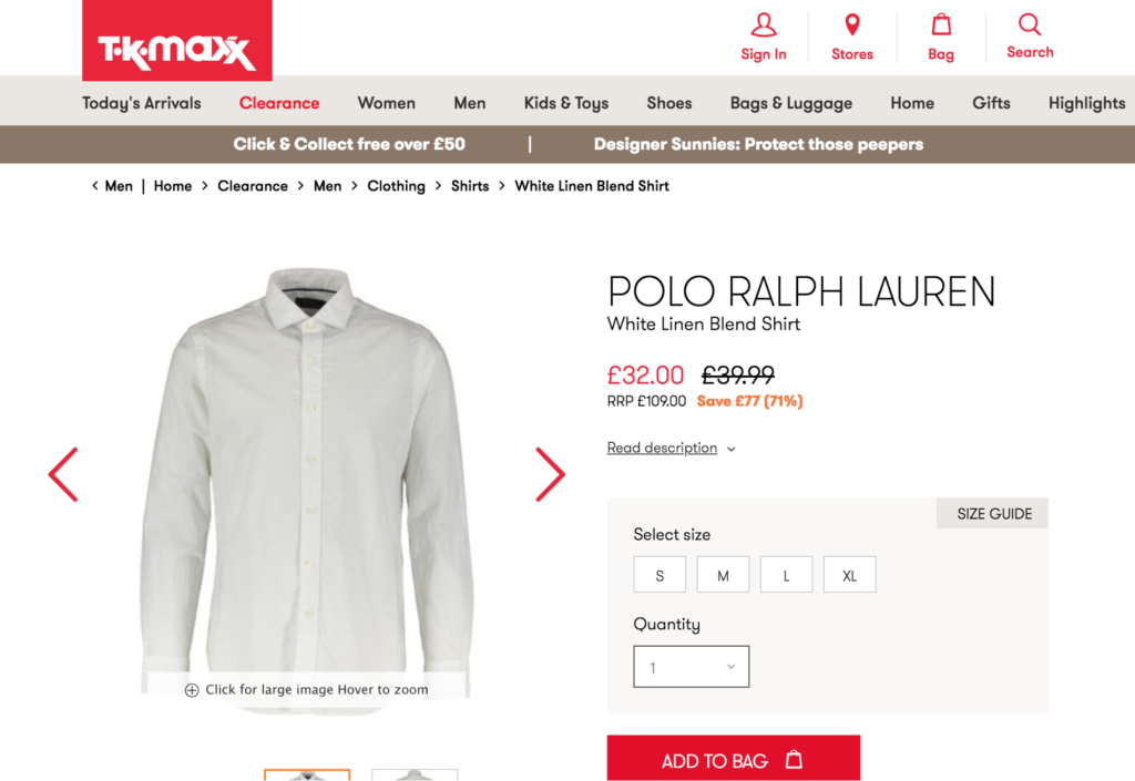 Pricing strategies for ecommerce companies: TK Maxx using anchor ecommerce pricing strategy
