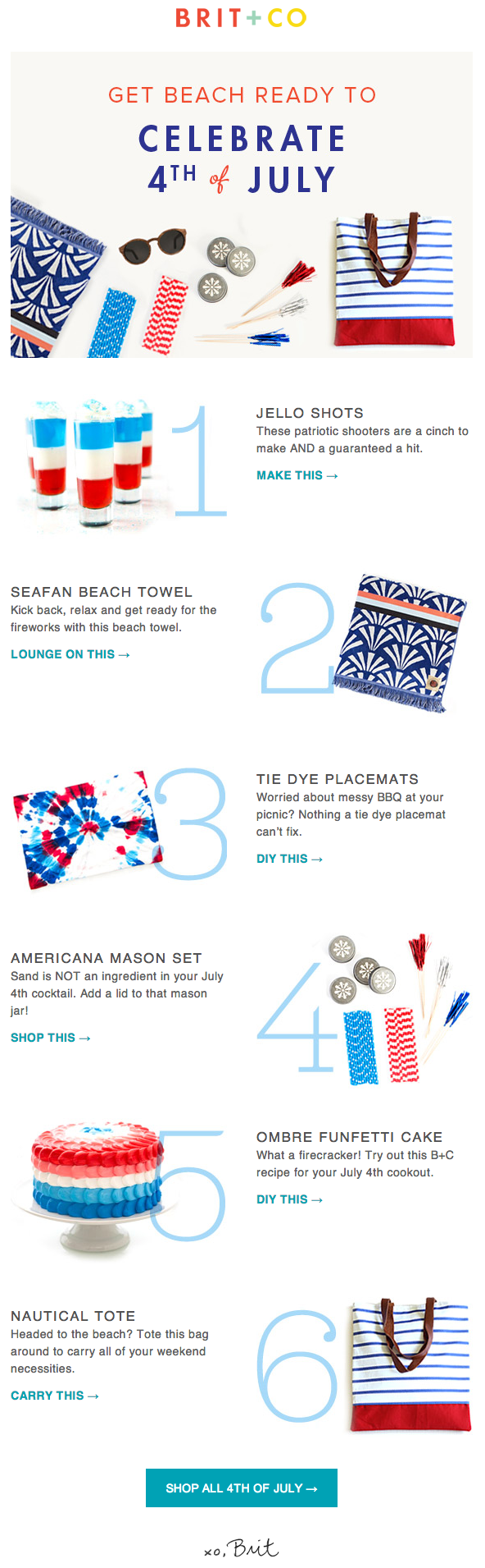 Retail Marketing Calendar 2019: Brit + Co Fourth of July email