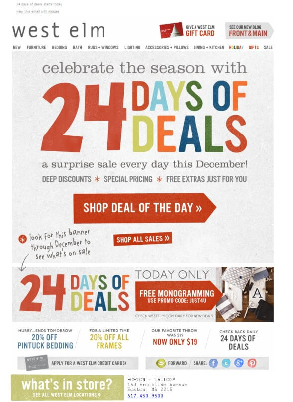 Retail Marketing Calendar 2019: West Elm 24 Days of Deals