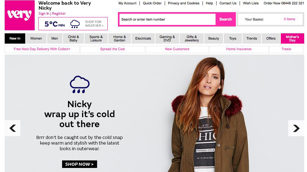 Very.co.uk rainy day homepage