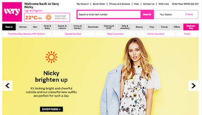 Very.co.uk sunny day homepage