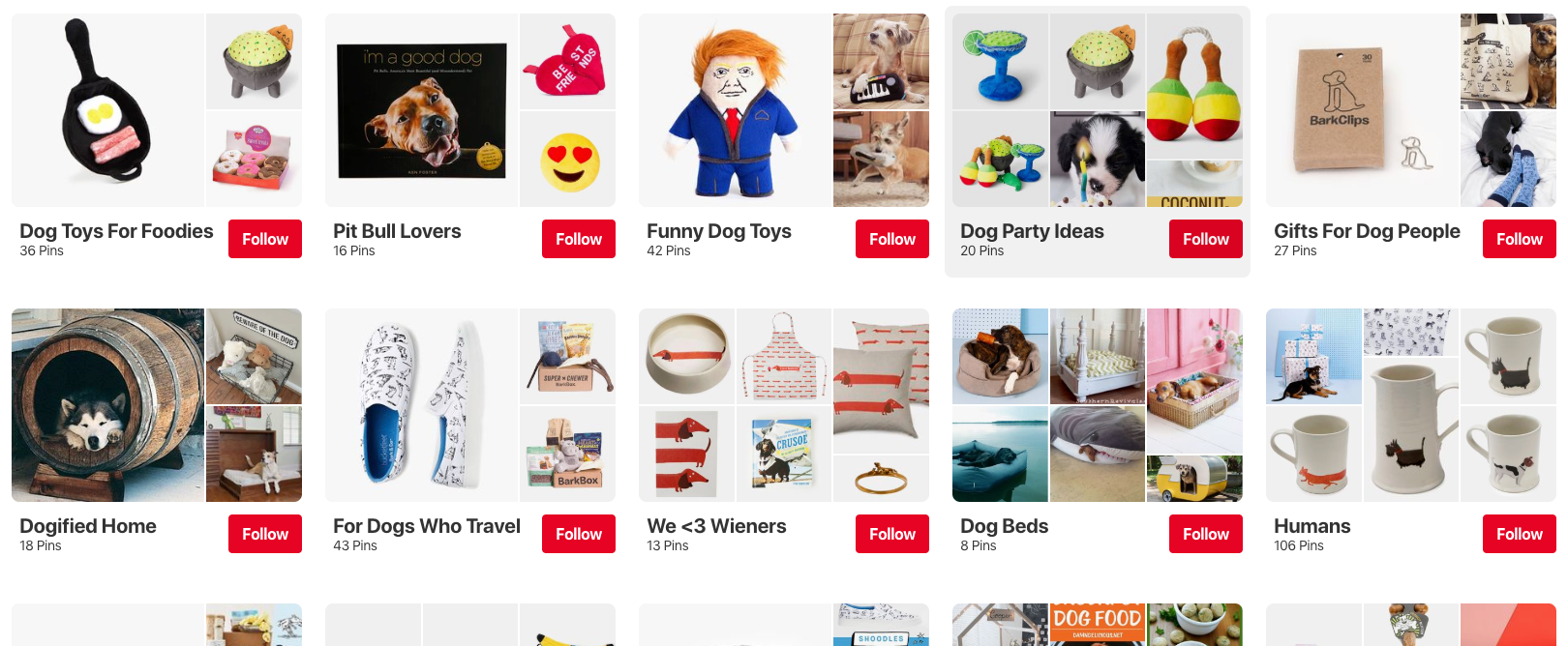 BarkShop Pinterest Boards