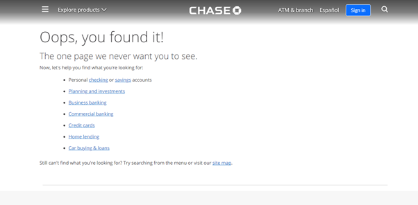 Chase Bank 404-Page