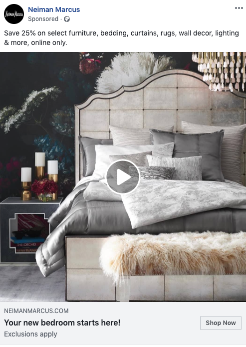 Neiman Marcus FB Video Remarketing Ad