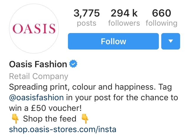 Oasis Instagram Example 1
