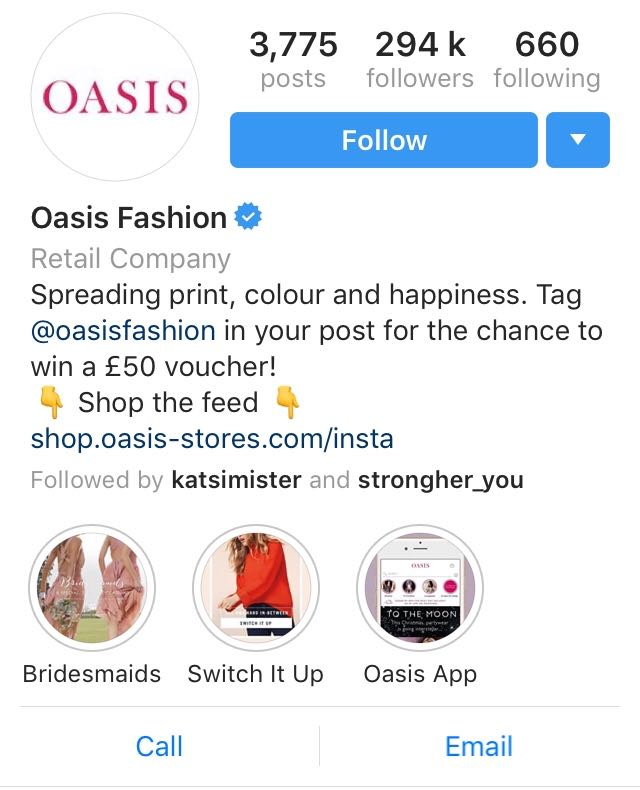 Oasis Instagram Example 2