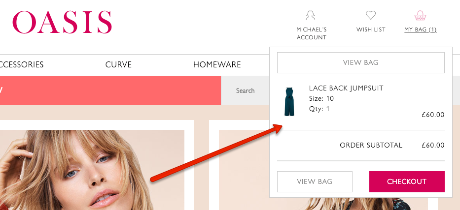 Omnichannel Examples: Oasis add to cart