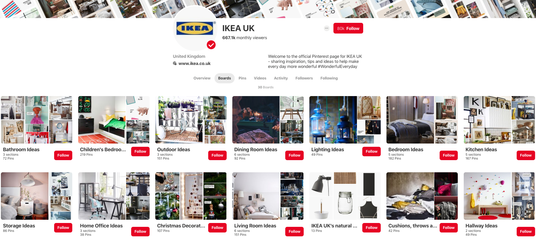 IKEA UK selling on Pinterest Boards example