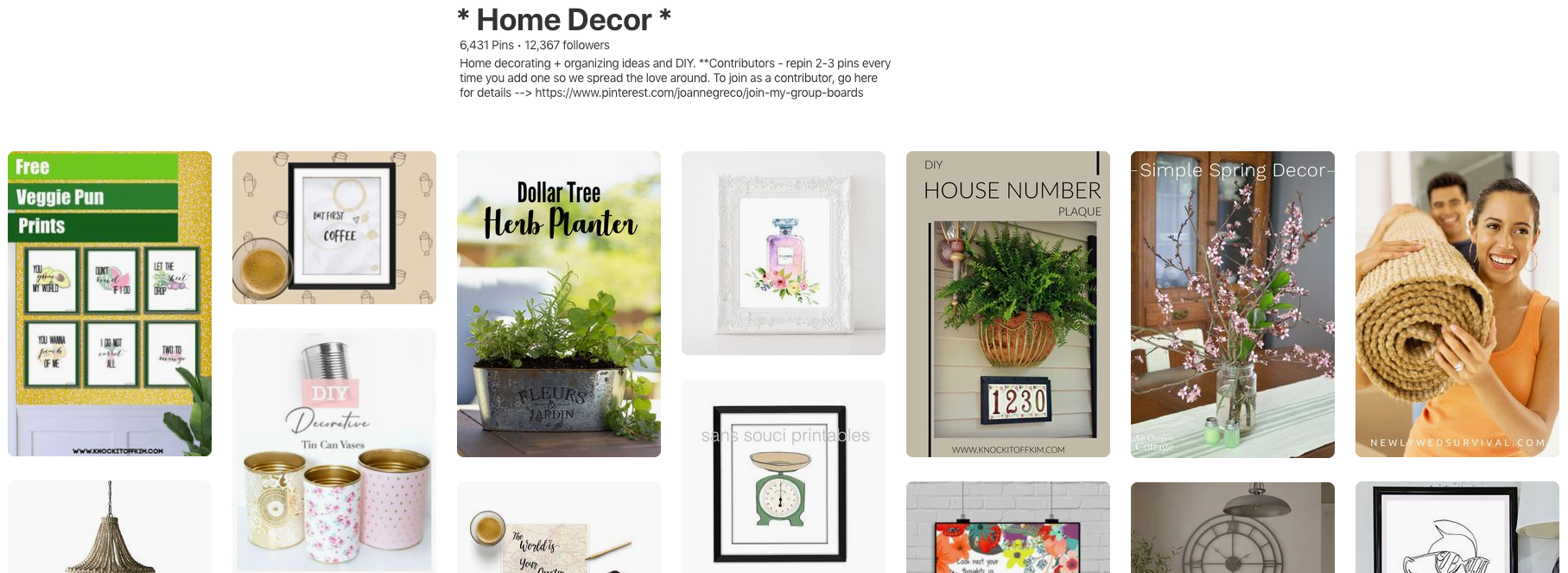 Pinterest Home Decor Group Board