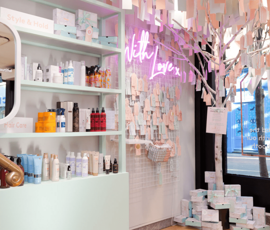 "Birchbox ""With Love"" wall"