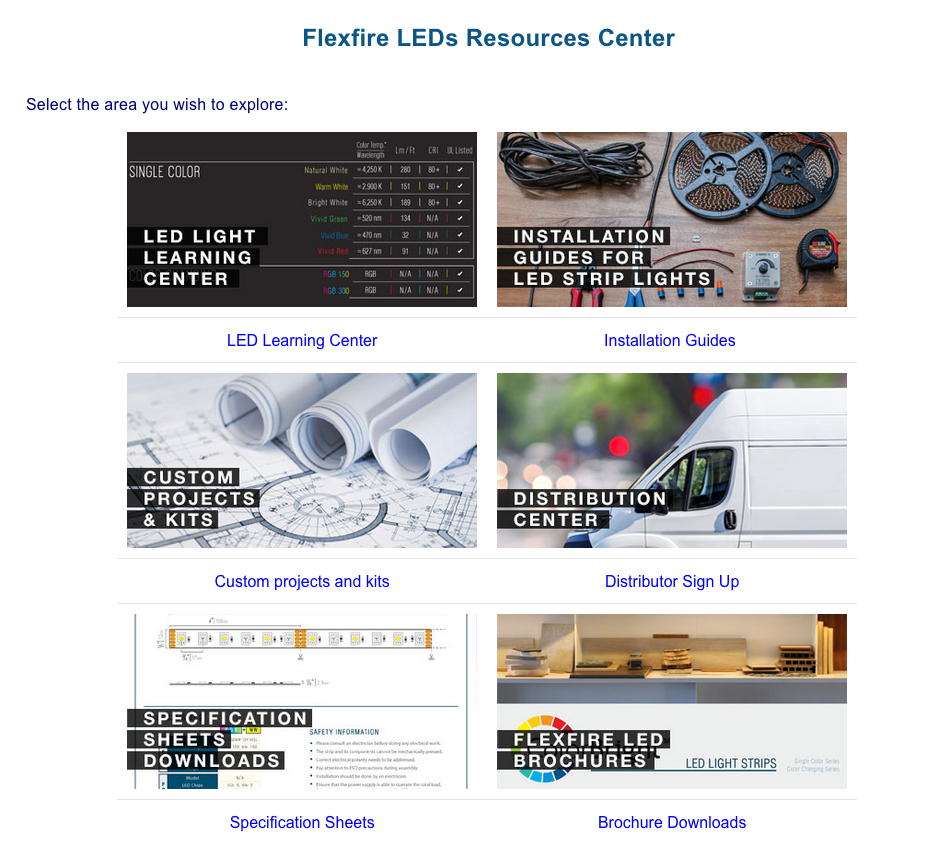 Flexfire LEDs B2B ecommerce resources