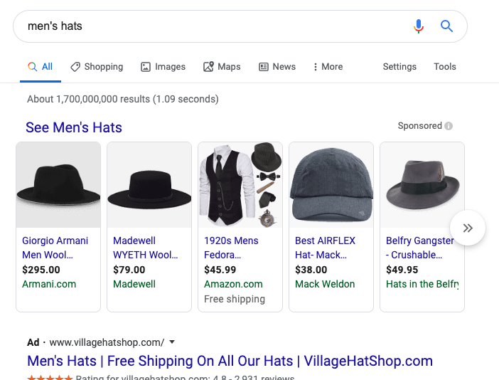 Google Product Listing Ads: Men's hats