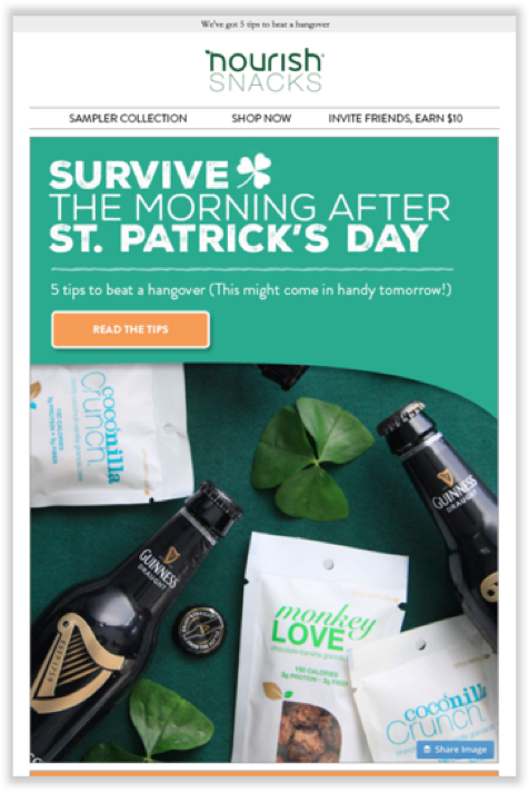 Retail Marketing Calendar 2020: Nourish Snacks St Patrick's Day