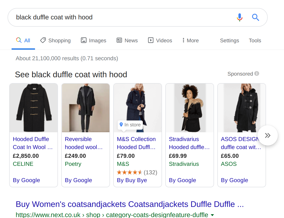 Google Product Listing Ads coat in SERPs