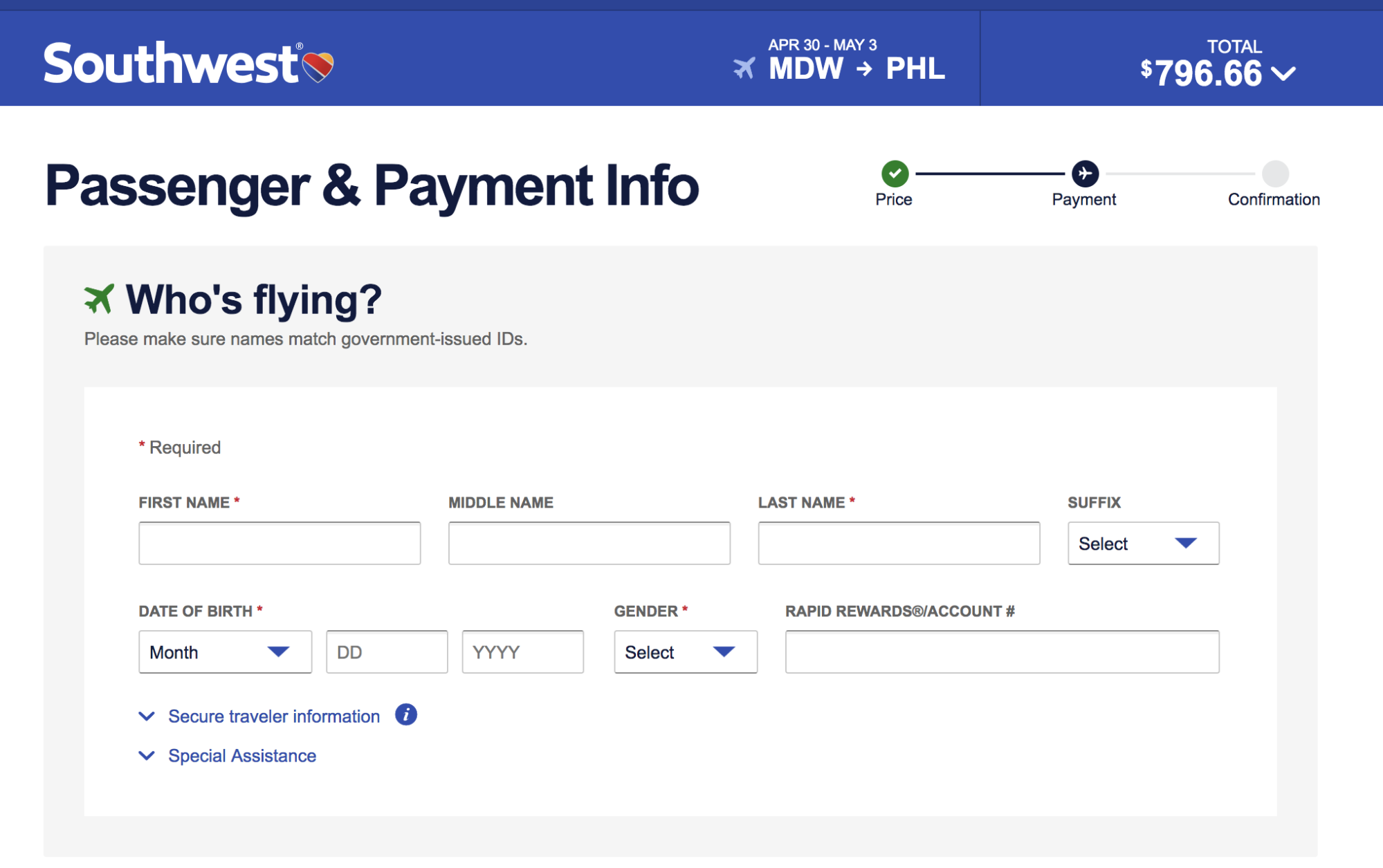 Southwest Airlines Ecommerce Checkout UX