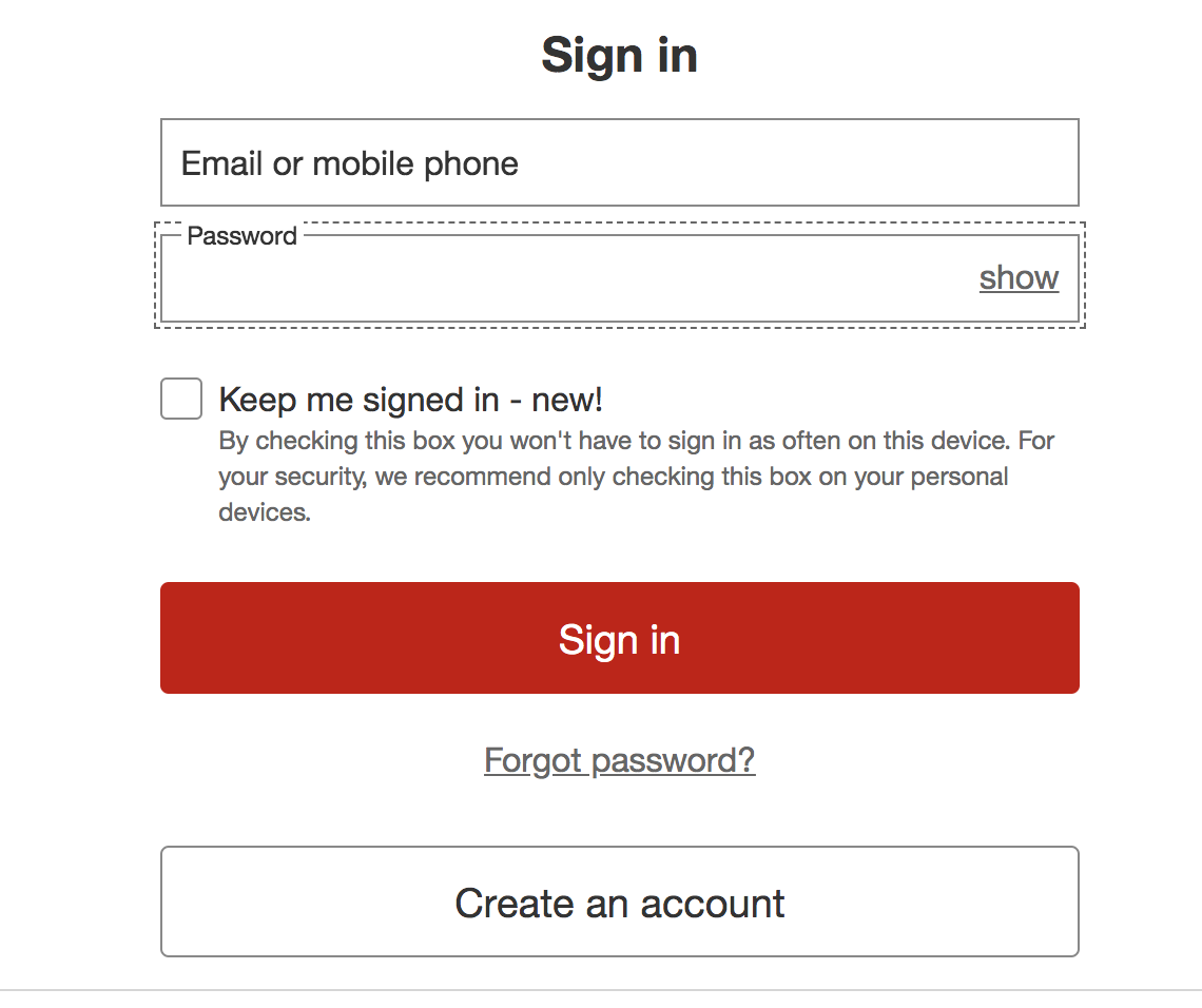 Target Checkout Account Creation