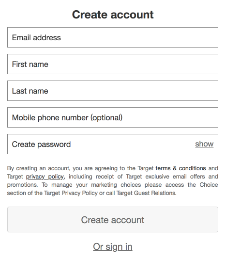 Target New Account Form
