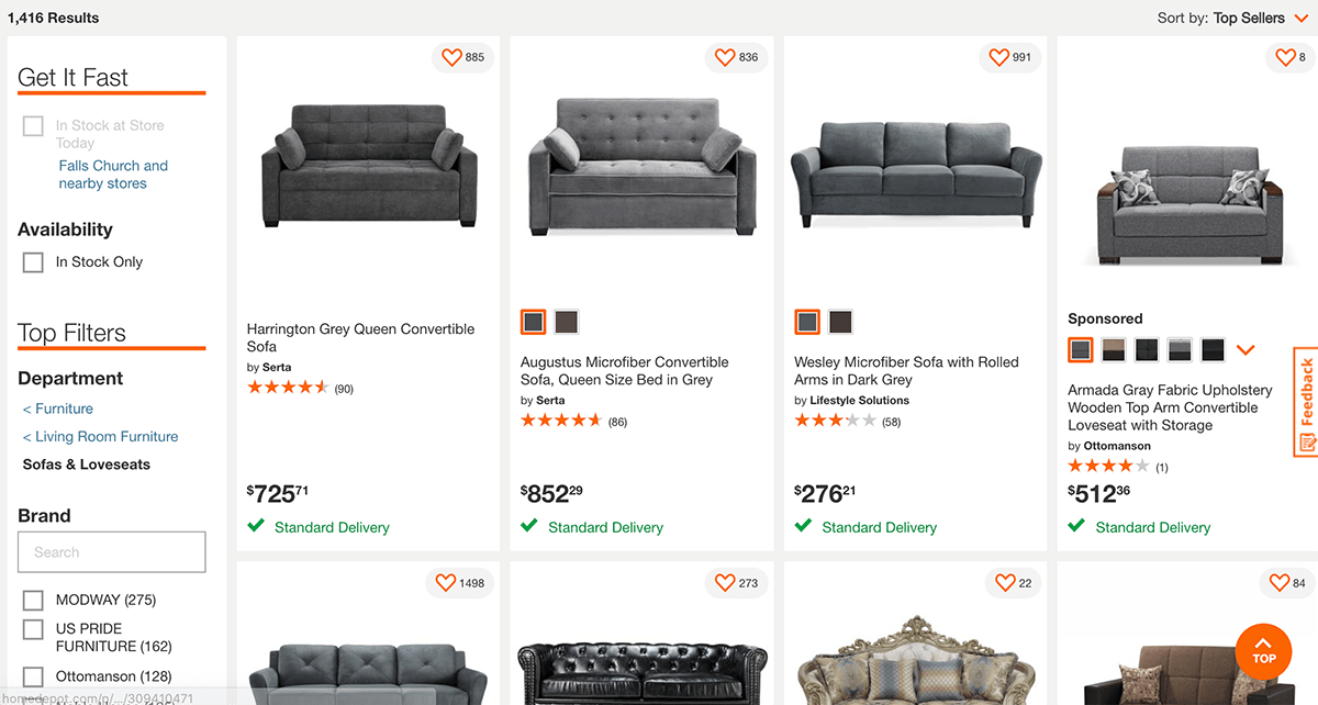 The Home Depot online category pages