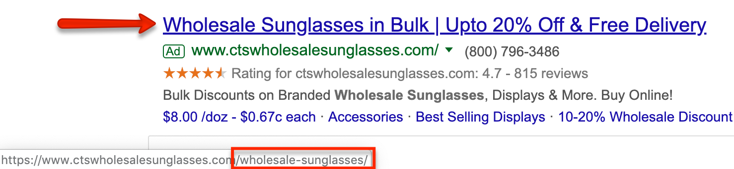 Wholesale sunglasses paid search ad