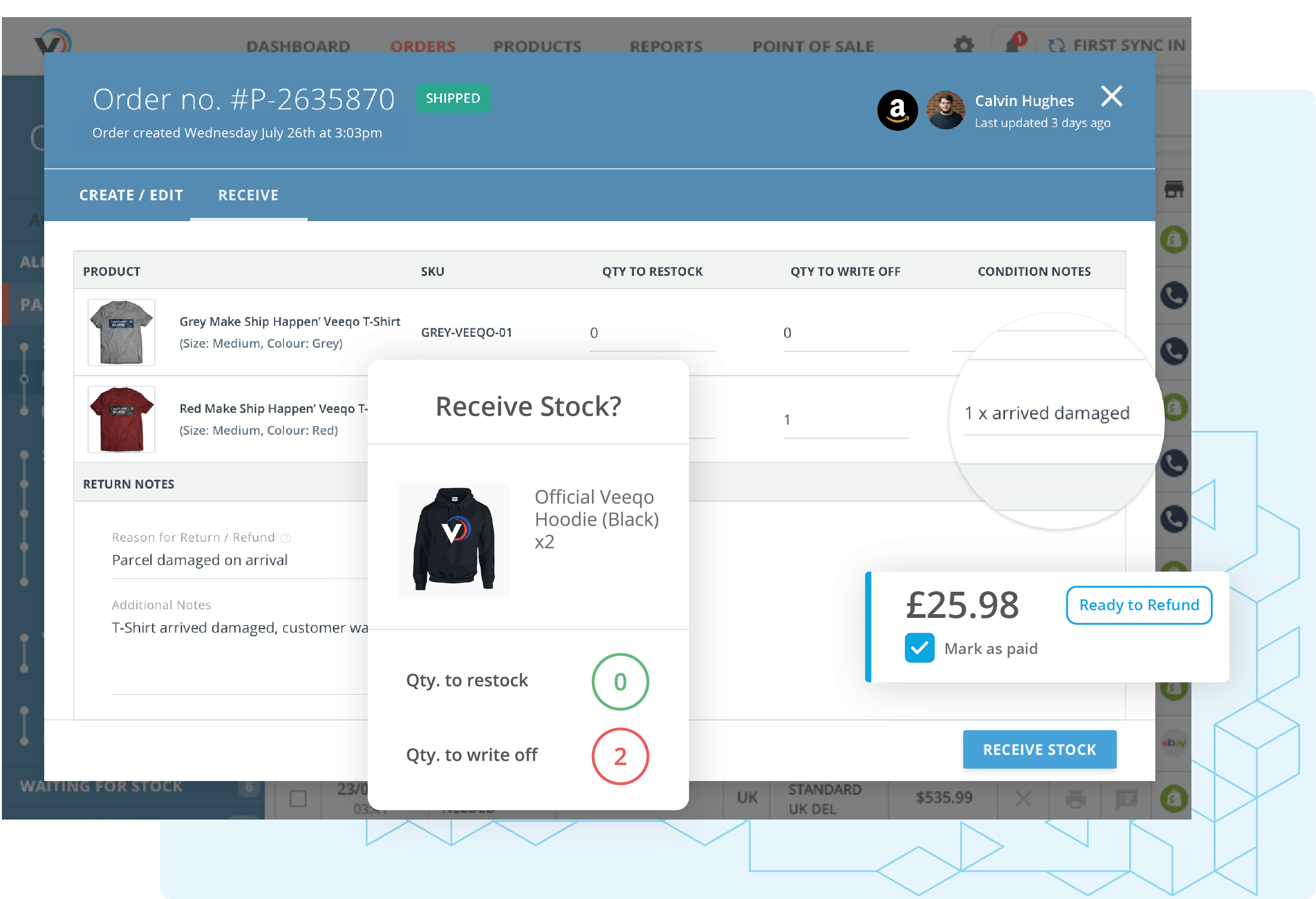 Amazon Returns Management: Use Amazon to sell online, then Veeqo for tracking and managing all returns in one place