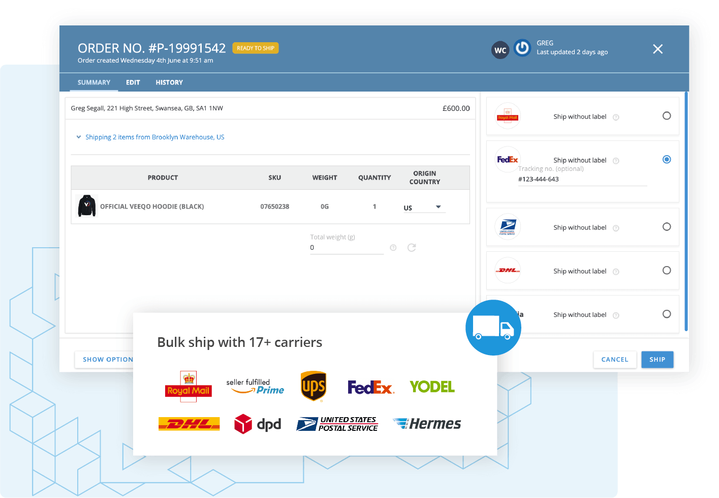BigCommerce Shipping & Store Fulfilment: Use Veeqo Order Management Software for BigCommerce store fulfilment and see best carrier services